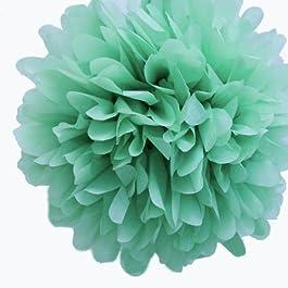 My Cupcake e instrucciones para hacer vestidos Mini 12,7 cm old Basket Supply Company Limited verde de papel de seda pompones decorativos, juego de 8 - verde flores de papel, verde de flores de Valentina Ramos, verde pompones de seda