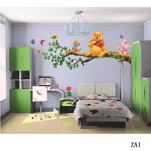 Aokeshen Set 2pc New Winnie The Pooh PVC Removable Reusable Wall Sticker Home Decor For Kids /Nursery /Boys /Girls /Children Room Bedroom Art Decals