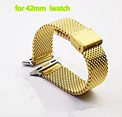 Apple Watch Band, Hapurs Stainless Steel Mesh Replacement Strap Wrist Band Metal Clasp Classic Polishing for Apple Watch (Glod 42mm)