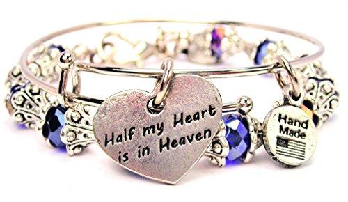 2 Piece Set Half My Heart Is in Heaven Sapphire Blue Bangle Bracelet Collection