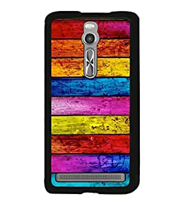 Multicolour Wooden Pattern 2D Hard Polycarbonate Designer Back Case Cover for Asus Zenfone 2 ZE551ML