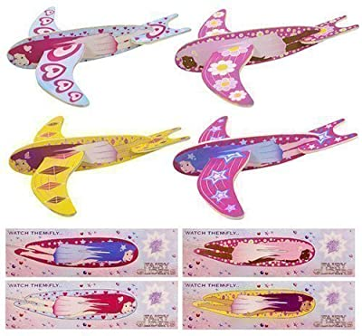 36 x Children Kids Pretty Girls Pink Flying Fairy Gliders Planes Party Bag Filler Toy