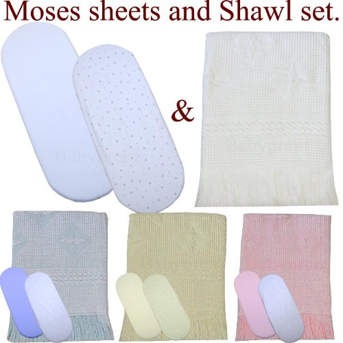 "Moses Basket Sheets And Shawl Set. Pack Of 2 Babyprem Cotton Fitted Sheets 30"" X 11"" White , Cream, Pink Or Blue Moon & Stars With Large Shawl / Blanket"