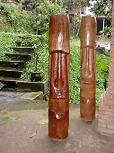 Easter island tiki 60 hand carved in for Outdoor pool sculptures