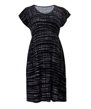 Maternity Navy Scratch Print Dress