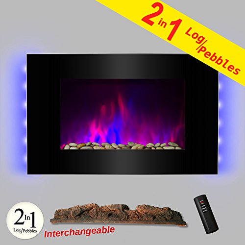 AKDY-36-LED-Wall-Mount-Electric-Fireplace-Modern-Space-Heater-Flat-Tempered-Glass-wRemote-Control