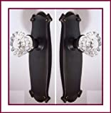 "ESTATE type FRENCH DOOR Set: Two Crystal Glass Knobs, Two Surface mount Dummy Brackets, Two Hand stamped 5-7/8"" inch x 2 inch estate type backplates and matching screws. Very Easy to Install on one side to two doors or both sides of one French Door."