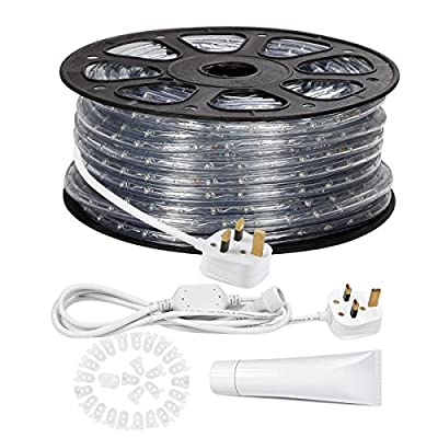 LE 46m 220-240V AC LED Rope Lights Kit, 3000K Warm White, Waterproof IP65, Accessories Included, LED Crystal Clear PVC Tubing Rope, Customizable Length Indoor/Outdoor Rope Lighting for Holiday¡­