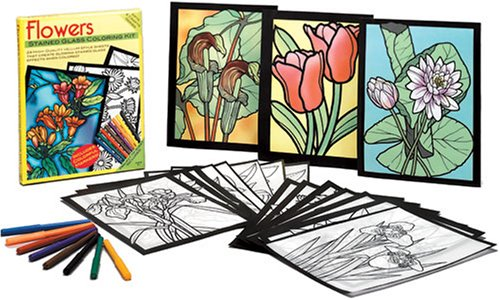 Flowers Stained Glass Coloring Kit (Arts & Crafts (Dover))