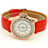 Conbays Red Classic Round Dial Crystal Girl Lady Leather Quartz Wrist Watch Women Gift Luxury