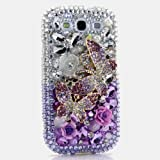 3D Luxury Swarovski Crystal Sparkle Diamond Bling Double Butterfly Silver Faded to Purple Design Case Cover for Samsung Galaxy S4 S 4 IV i9500 fits Verizon, AT&T, T-mobile, Sprint and other Carriers (Handcrafted by BlingAngels®)