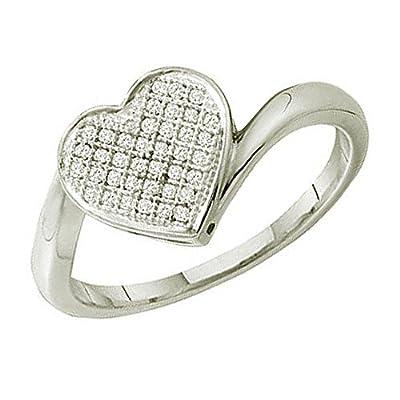 0.10 Carat (ctw) 10k White Gold Round Diamond Ladies Micro Pave Promise Heart Engagement Ring