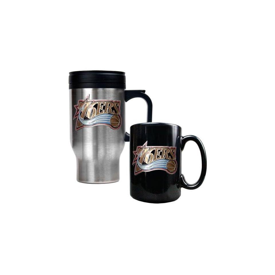 Philadelphia 76ers NBA Stainless Steel Travel Mug & Black