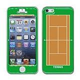iPhone 5/5S ケース(シールタイプ) テニスコート柄・緑・茶