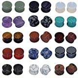 Longbeauty 15 Pair Natural Mix Stone Flared Fresh Tunnels Ear Plugs Expander Piercing Gauges kit 8MM