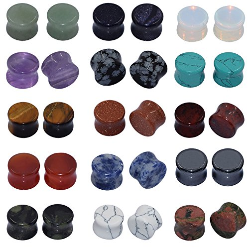 Longbeauty 15 Pair Natural Mix Stone Flared Fresh Tunnels Ear Plugs Expander Piercing Gauges kit 6MM (2 Gauge Ear Plugs compare prices)