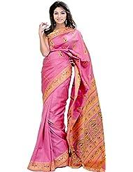 Exotic India Moonlite Mauve Baluchari Sari With Hand-Woven Dancing Apsara - Pink
