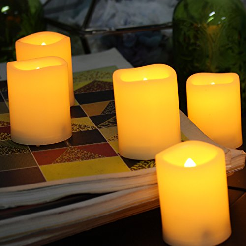 6 PCS Premium Flameless Candles with Timer, LED Votive, Battery Powered Votives with Timer, Long Battery Life, Battery Life 200+ Hours (Battery Votive Candles Timer compare prices)