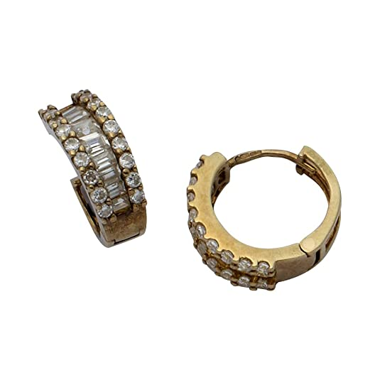 Adara 9 ct Yellow Gold Cubic Zirconia Huggie Earrings