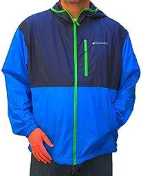 COLUMBIA MEN\'S MORNING VIEW WINDBREAKER hooded BLUE JACKET (XL)