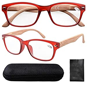 Eyekepper Spring Hinge Wood-grain Printed Arms Reading Glasses with Case