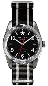 OXYGEN Washington 38 unisex quartz Watch with black Dial analogue Display and black nylon Strap EX-S-WAS-38-NN-BLIVBL