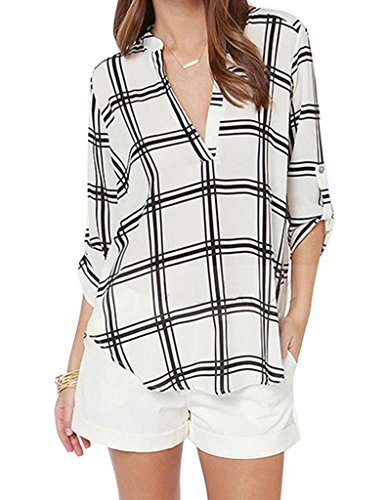 Minetom Donna Autunno Plaid V-Neck Chiffon Maniche Lunghe Camicetta Camicia Tops Shirt IT 48