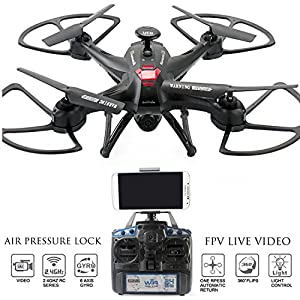 Drone with Camera Live Video Controller - Navigator FPV High Speed Quadcopter, First Person View Flight in Real Time with VR, Air Pressure Sensor Attitude Lock, Headless Mode, Return Home Key