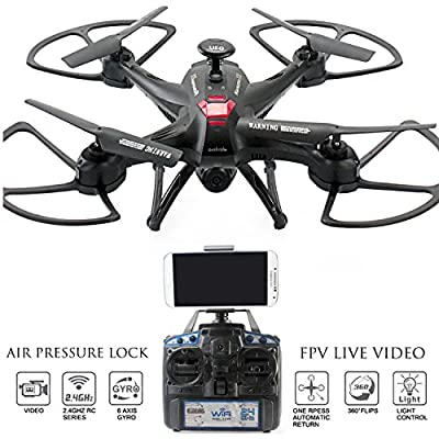 Drone with Camera Live Video Controller - Navigator FPV High Speed Quadcopter, First Person View Flight in Real Time with VR, Air Pressure Sensor Attitude Lock, Headless Mode, Return Home Key from KiiToys