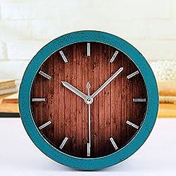 Alrens_DIY(TM) Retro Europe Style Wood Pattern Silent Non-ticking Desk Wall Clock Vintage Alarm Clocks Table Desk Clocks Desktop Clock (Green)