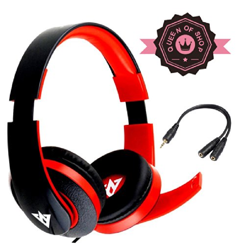 Em222 Usb Drive Computer Headset Business Music Game Headphone With Microphone For Pc Computer Gaming Black+Red