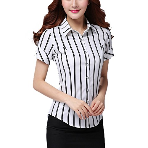 Echoine Women Business Striped Button Down Work Shirts Short Sleeves Blouse Tops