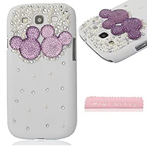 MINI KITTY-High quality new Original 3D Bling Case for samsung galaxy s3 i9300 Glitter Rhinestone Mickey Mouse Hard Case Cover +microfiber cloth as a gift.