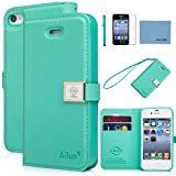 iphone 4 Case,iphone 4s case,By Ailun,Wallet Case,PU Leather Case,Credit Card Holder,Flip Cover Skin[Green]with Screen Protector and Styli Pen