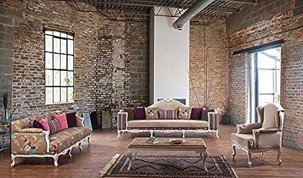 Luxus Sofa 4 Sitzer 3 Sitzer Glory Sessel in drei Mustern erhältlich / Couchtisch (1 Couchtisch)