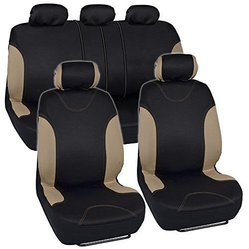 Tan Trim Black Car Seat Covers Full 9pc Set - Sleek & Stylish - Split Option Bench 5 Headrests Front & Rear Bench (Cover Seats For Cars Subaru compare prices)