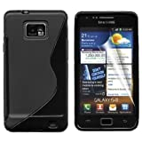 Gadgeo Black Gel Silicone TPU Case Cover for Samsung Galaxy S2 i9100 with Screen Protector and Cleaning Cloth