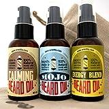 Beard Grooming Oil Gift Set: Energy Beard Oil, MOJO Beard Oil and Calming Beard Conditioner by OneDTQ