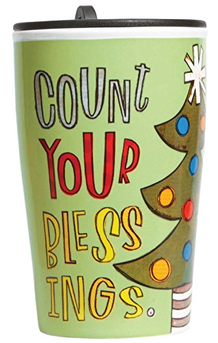 C.R. Gibson Porcelain Double Wall Travel Cup With Lid, Count Your Blessings front-494794