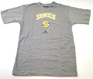 Seattle Sonics NBA adidas Team Name and Logo Youth Grey T-shirt by adidas