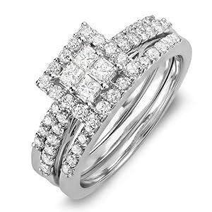 1.15 Carat (ctw) 14K White Gold Princess & Round White Diamond Engagement Bridal Ring Set (Size 7)