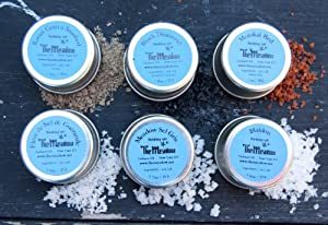 Finishing Salt Starter Set - 6 Different Sea Salts From Around the World, Small Taster Tins