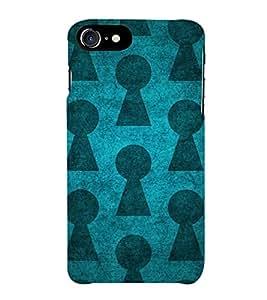 TRANSLUCENT BLUE AND BLACK VINTAGE PATTERN 3D Hard Polycarbonate Designer Back Case Cover for Apple iPhone 7