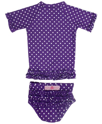 RuffleButts Grape Polka Dot Ruffled Rash Guard Bikini - 6-12m