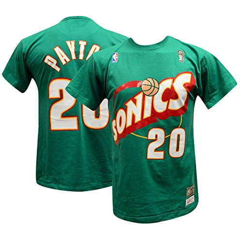 Gary Payton Seattle Supersonics Mitchell & Ness Hardwood Classics Name & Number T-shirt (M) (Gary Payton compare prices)
