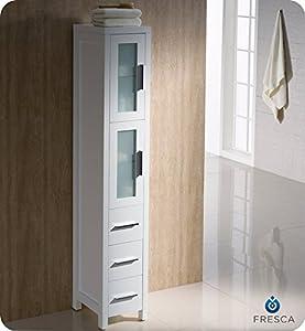 Fresca Torino Tall Bathroom Linen Side Cabinet - White