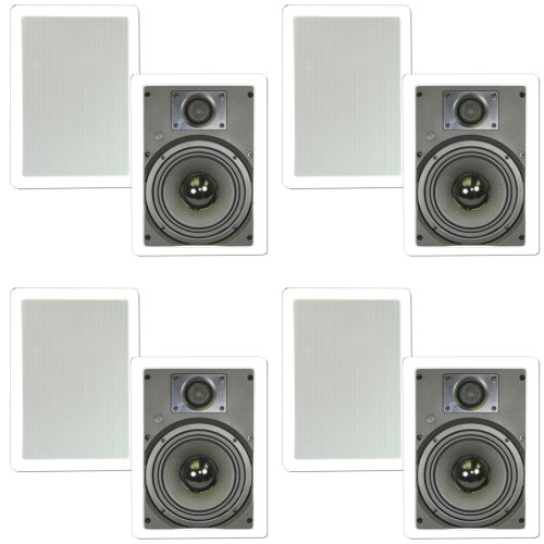 """Theater Solutions New 6.5"""" In Wall Home Theater Kevlar Speakers 4 Pair Pack 1600 Watts 4Ts65W"""