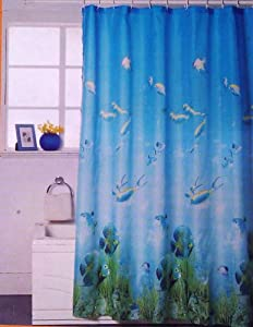 Tropical fish coral reef shower curtain with ceramic hooks amp liner
