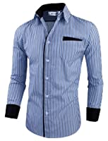 Tom 39 s ware mens classic slim fit vertical for Tom s ware mens premium casual inner contrast dress shirt