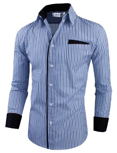 Tom'S Ware Mens Classic Slim Fit Vertical Striped Longsleeve Dress Shirt Twcs16-Navy-2Xl
